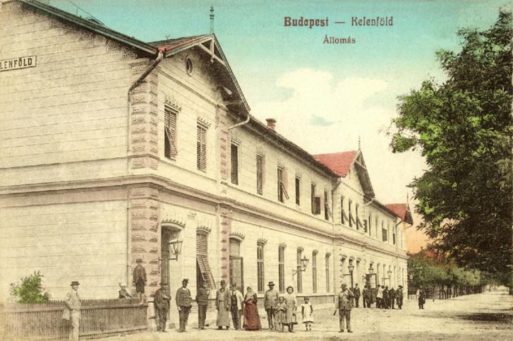 A kelenföldi indóház fénykorában, egy 1913-as színezett képeslapon