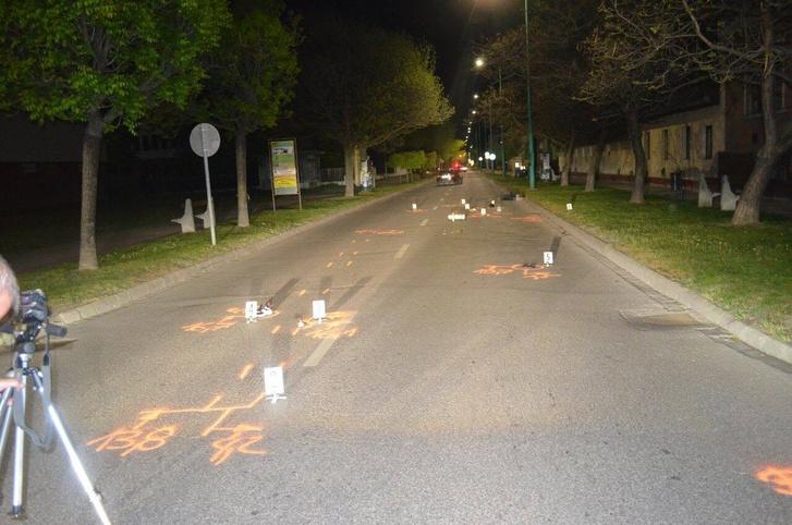A baleset helyszíne 2019. április 20-án, a Kossuth Ferenc utca és a Teleki út kereszteződése Cegléden