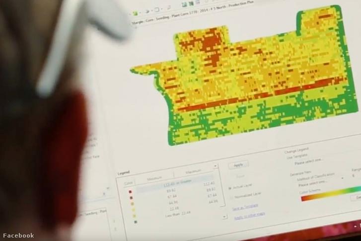 A Climate Corp Fieldview programján a gazda megnézheti, hogy a földjein hová pontosan mit vetett és mikor, hol hogyan alakultak a hozamok, mikor mennyit esett az eső, milyen erősen fújt a szél, hol alakul jobban és rosszabbul a termés