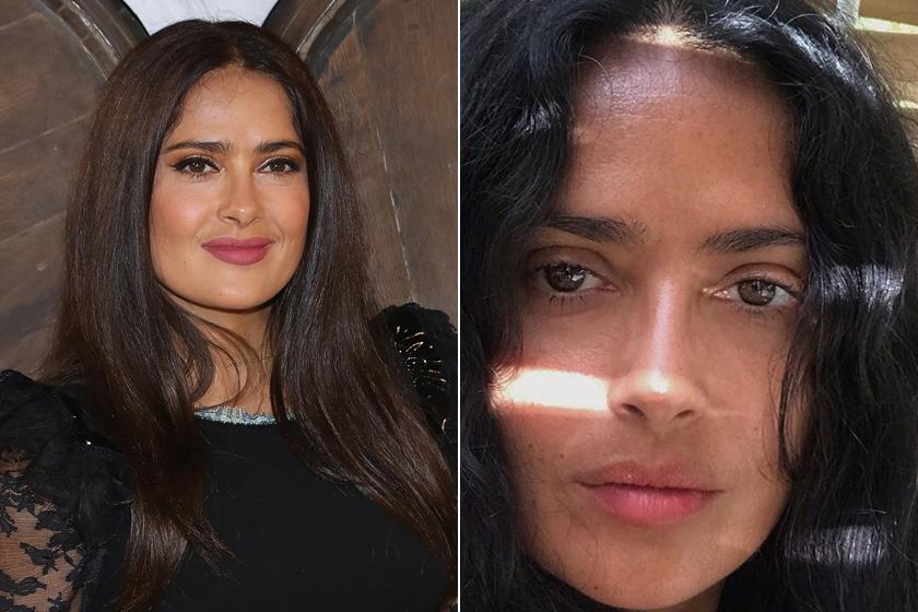 Az 53 éves Salma Hayek többször osztott már meg magáról smink nélküli fotót. Bár az eseményeken mindig kifestve jelenik meg, természetes arcát is büszkén mutatja meg. Natúr külsővel is csodás.
