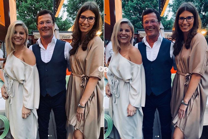 Stohl András két felnőtt lányával, Rebekával és Lucával egy családi rendezvényen.