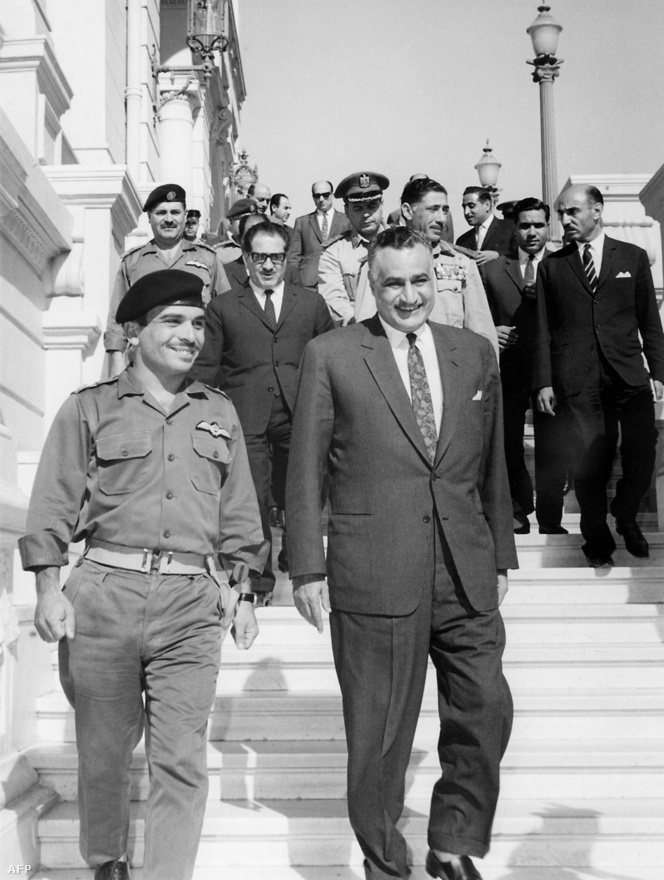 Hussein Ibn Talal King of Jordan (l) and Egyptian President Gamal Abdel Nasser (r) smile after signing a Jordan-Egyptian defense agreement June 1967 in Cairo.