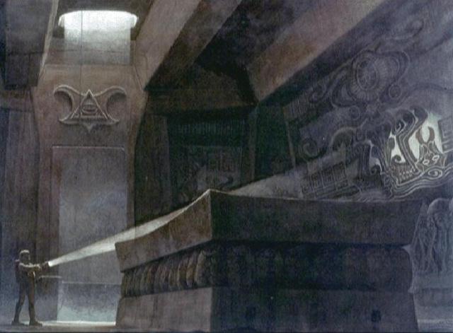 Ron Cobb eredeti látványterve az Alien-piramis keltetőkamrájához