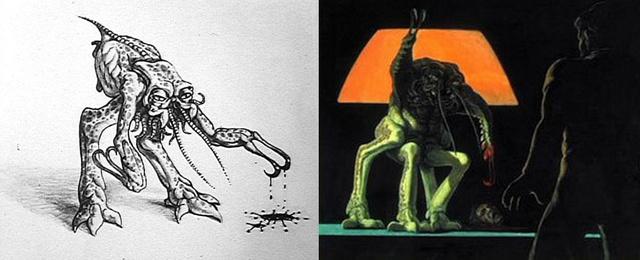 Dan O'Bannon és Ron Cobb korai vázlatrajzai az Alienről