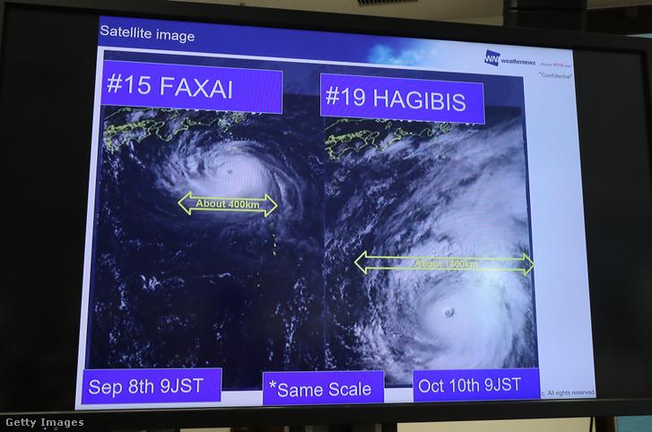 A Faxai és Hagibis tájfunok összehasonlítása egy tévé kijelzőjén