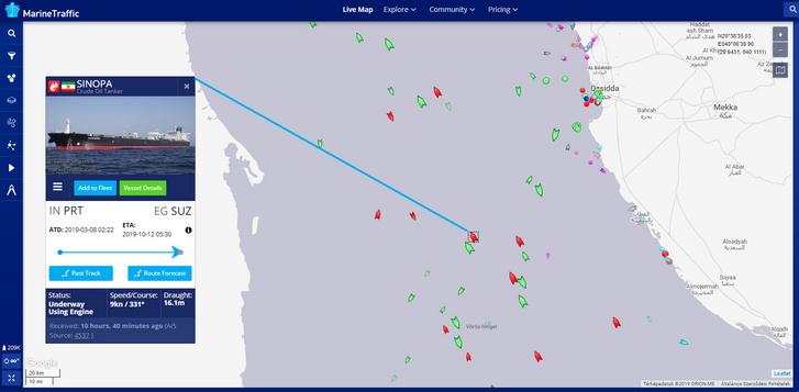 A tartályhajó pozíciója a Vörös-tengeren