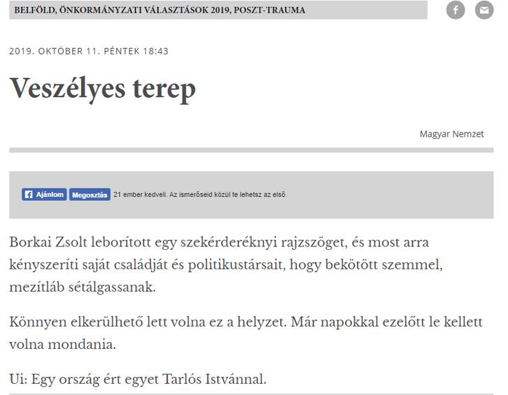 Screenshot a Magyar Nemzet említett cikkéről.
