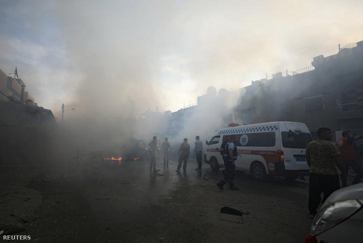 A robbanás helyszíne Kamisliben 2019. október 11-én.