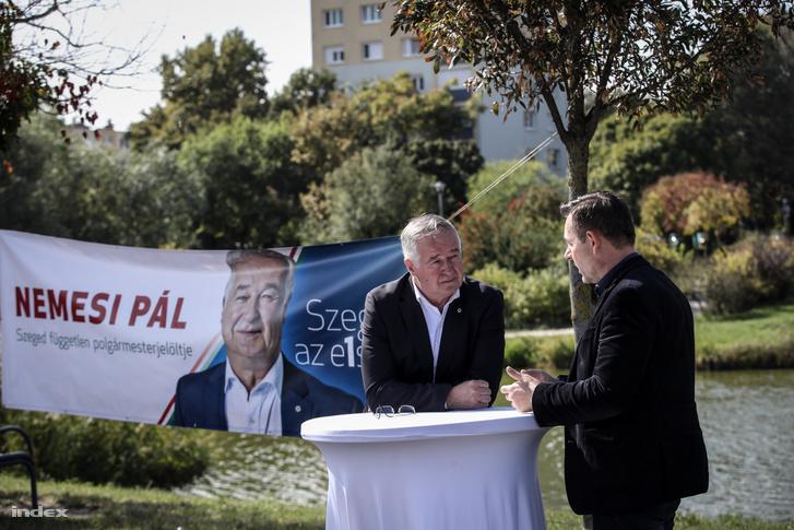 Nemesi Pál a szegedi kampány kitelepülésen 2019. október 5-én