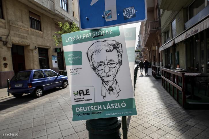 Karikatúrával ábrázolt jelölt plakátja Ferencvárosban
