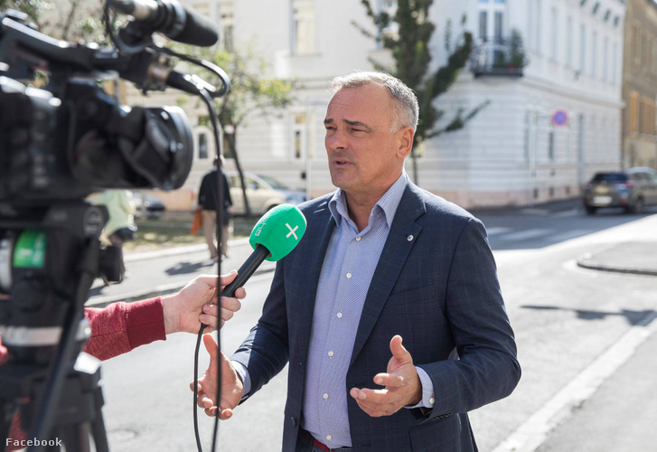 Zsolt Borkai speaks to the local television of the city of Győr