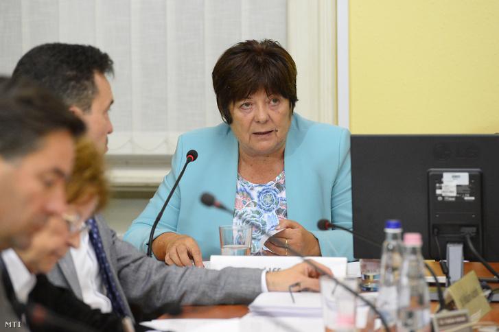 Pálffy Ilona, a Nemzeti Választási Iroda elnöke (NVI) tájékoztatót ad a Nemzeti Választási Bizottság (NVB) ülésén az NVI Alkotmány utcai székházában az önkormányzati és nemzetiségi választás napján, 2019. október 13-án.