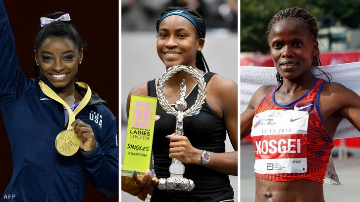 Balról-jobbra: Simone Biles az aranyérmével Stuttgartban, Cori Gauff a győzelmi trófeával Linzben és Brigid Kosgei a chicagói maraton végén