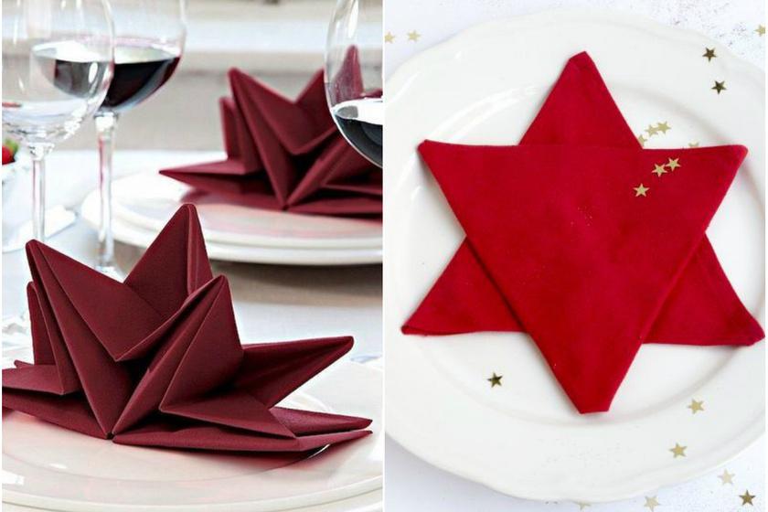 A karácsony és a csillag elválaszthatatlanok. Az origamiszerű csillagköltemények mellett lehet találkozni egyszerű megoldásokkal is, ahol lényegében két szalvéta egymásra helyezése révén jön létre a csillagforma. Ilyenkor a kompozíció közepére akár kisebb ajándékokat is lehet helyezni.