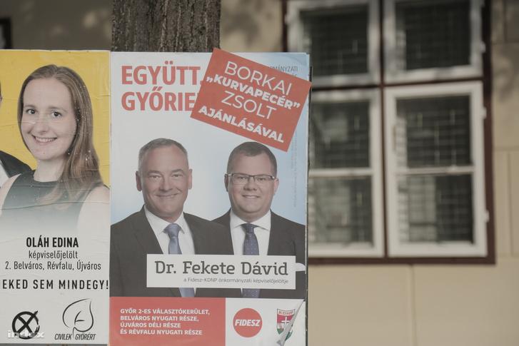 Borkai Zsolt választási plakátja Győrben 2019. október 13-án