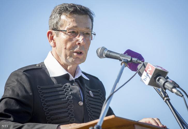 Babák Mihály polgármester beszédet mond a nemzeti összetartozás napja alkalmából tartott megemlékezésen Szarvason 2017. június 3-án