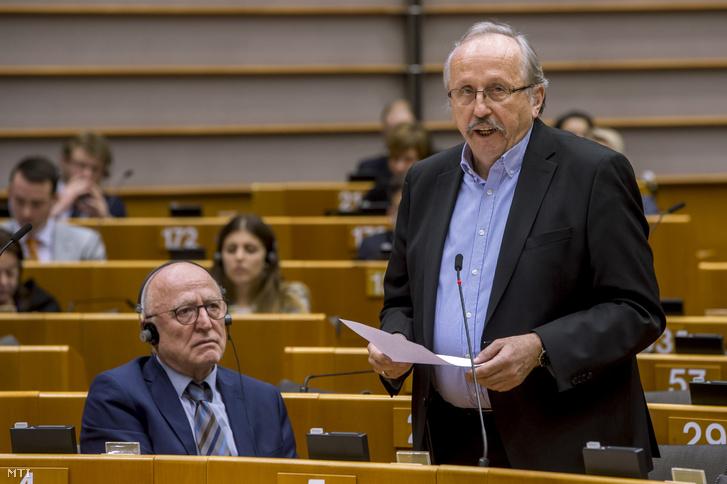 Niedermüller Péter, a DK képviselője felszólal a jogállamiság magyarországi helyzetéről tartott vitán a parlament plenáris ülésén Brüsszelben 2019. január 30-án.