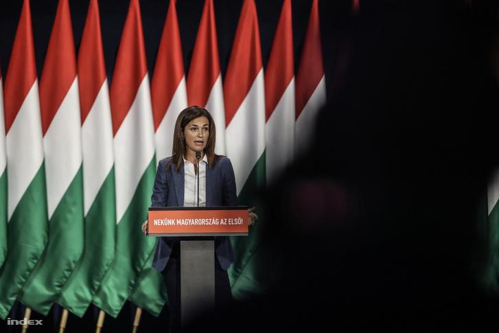 Varga Judit beszél a Fidesz kongresszusán 2019 szeptember 29-én.