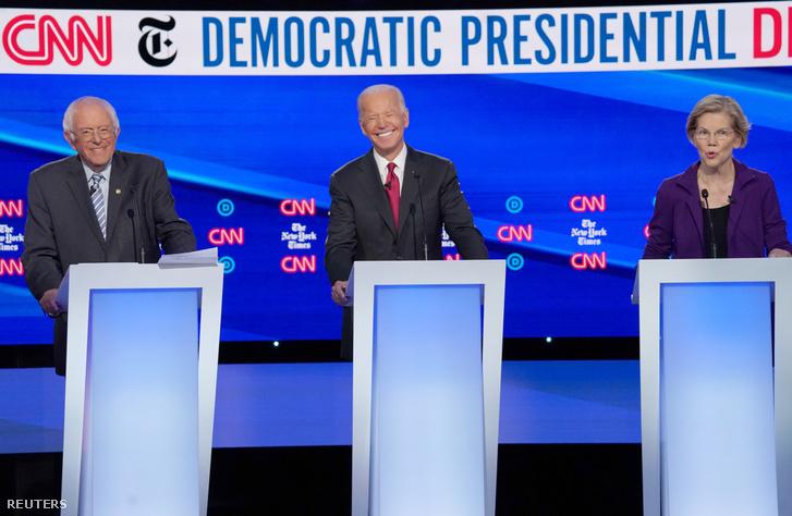 Bernie Sanders, Joe Biden és Elizabeth Warren az elnökjelölti vitán Ohióban