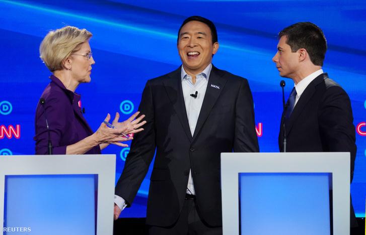 Warren, Yang és Buttigieg beszélgetnek a vitán