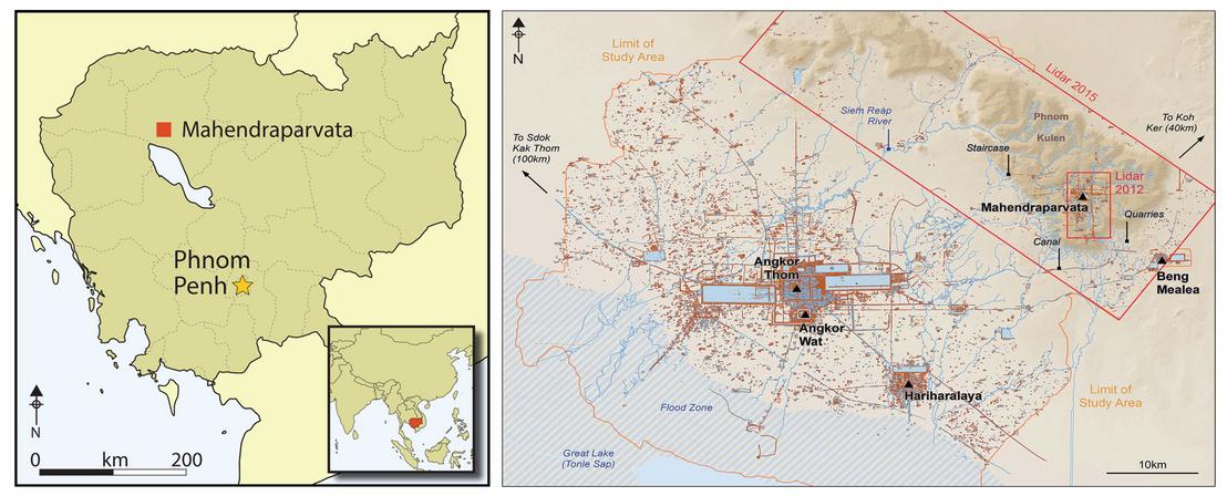 Az egykori khmer főváros elhelyezkedése