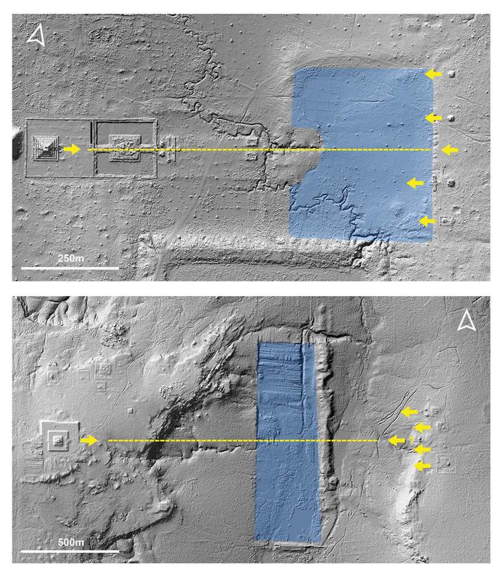 Fölül: korábbi LIDAR felvétel Koh Ker-ről, a 10. századi khmer fővárosról, alul: a LIDAR romok jelenlétét mutatta ki Mahendraparvata esetében is, jól látható egy a koh kr-i nél egyszerűbb piramis alakja