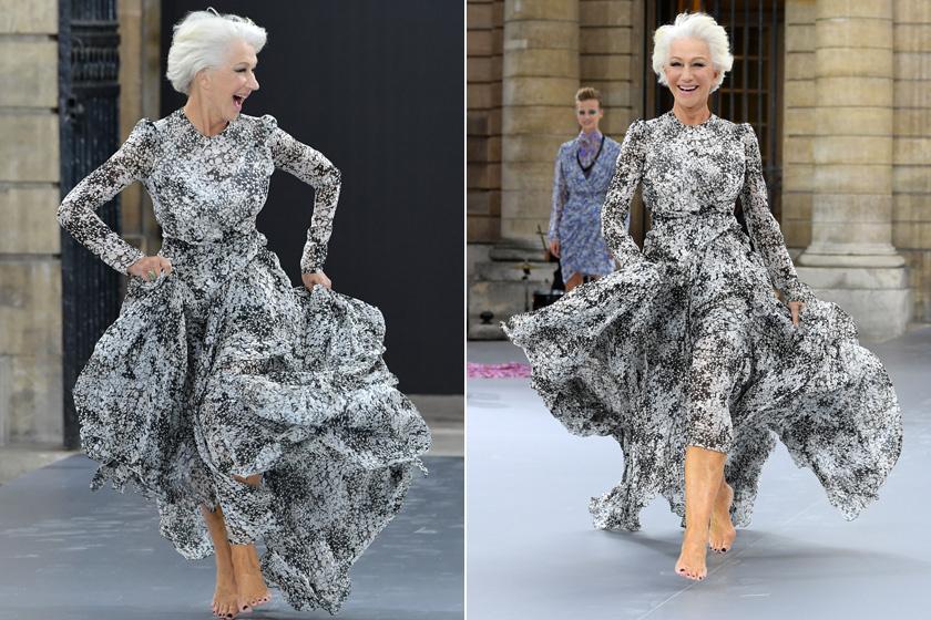 Helen Mirren nemrég a párizsi divathét egyik bemutatóján mezítláb szaladt be a kifutóra ebben a csodás, a szürke árnyalataiban pompázó mintás ruhában. Nem csoda, hogy rajongva ünnepelte a közönség.