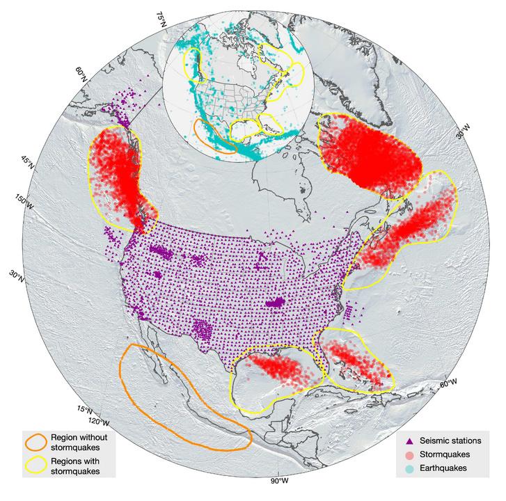 2006 és 2015 között észlelt viharrengések Észak-Amerika partjainál (a viharrengések pirossal vannak jelölve, a lila háromszögek a mérőállomások)