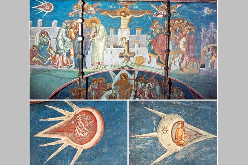 A szerbiai Visoki Decani apátság 1350-ben készült, Krisztus keresztre feszítését ábrázoló freskóján két üstökös-szerű, űrhajóra emlékeztető valamit látni. Dennis Geronimus, az olasz reneszánsz művészet szakértője, a New York-i Egyetem professzora szerint ezek nem mást, mint a napot és a holdat ábrázolják.