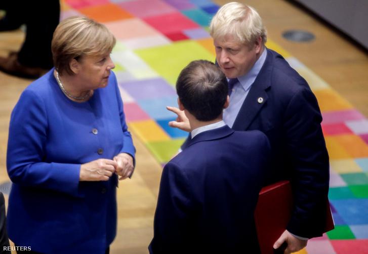 Angela Merkel, Boris Johnson és Emmanuel Macron 2019. október 17-én.