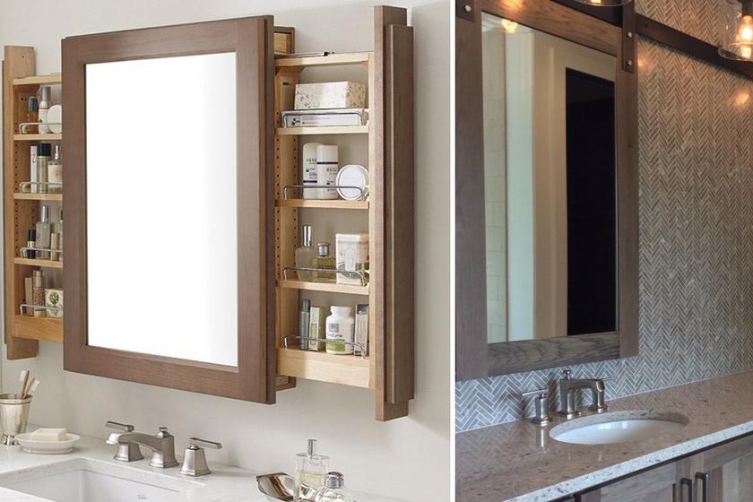 A nagy tükör minden teret tágasabbá tesz, de egy kis fürdőszobában fontos, hogy a mögötte lévő teret is kihasználja az ember. Jó tároló lehet egy tükrös szekrényből, de akasztható a tükör egy falba süllyesztett polc elé is.