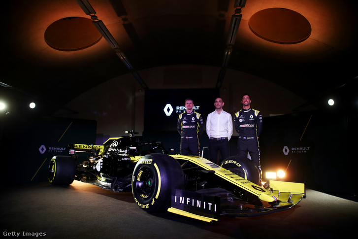 Daniel Ricciardo, Cyril Abiteboul és Nico Hulkenberg
