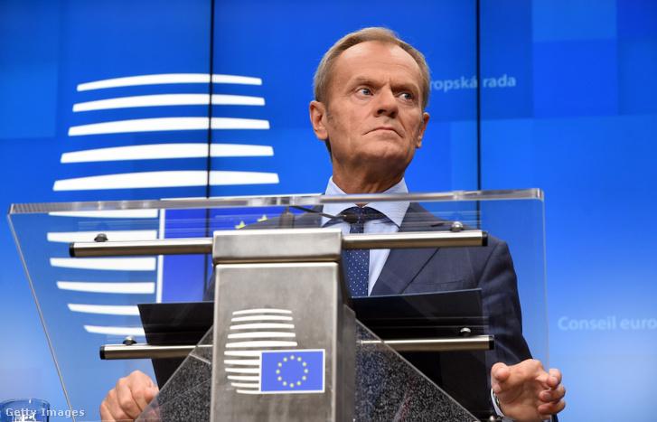 Donald Tusk az Európai Unió brüsszeli csúcstalálkozóján 2019. október 17-én.