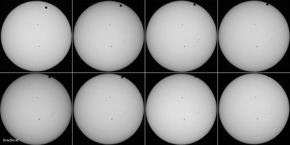 A tranzit végső szakaszának fázisai. Jól megfigyelhetők voltak az utóbbi időben igen aktív Nap napfoltjai is.