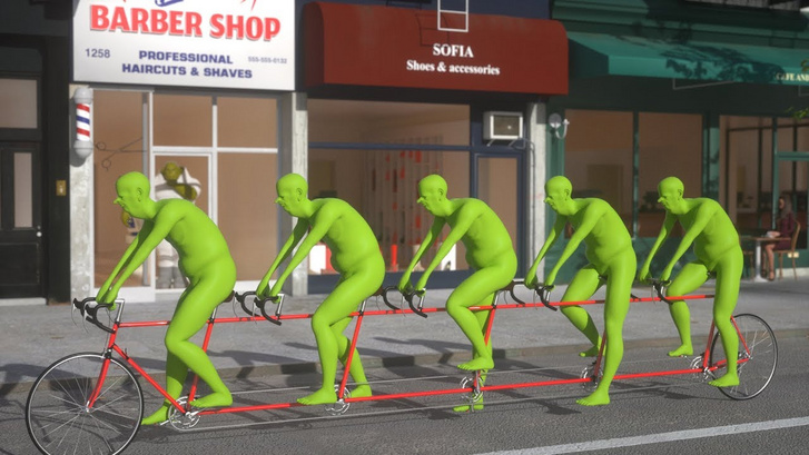 Five-Green-People-Riding-a-Bicycle-NYC-3D