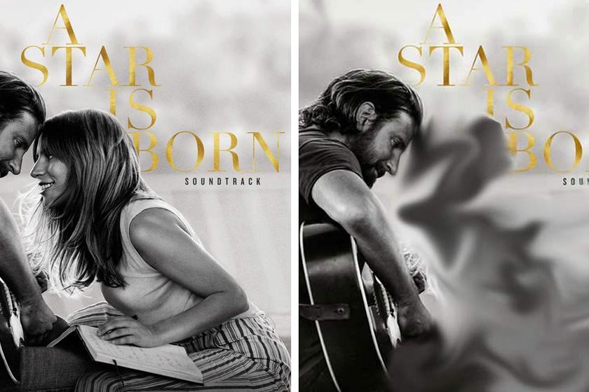 A Csillag születik című film zenéjének albumán Lady Gagából csak egy homályos, füstszerű folt maradt, míg Bradley Cooperhez hozzá sem nyúltak a retusálók.