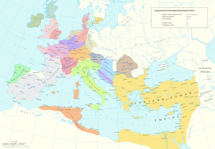 Európa és a Közel-Kelet 476-ban