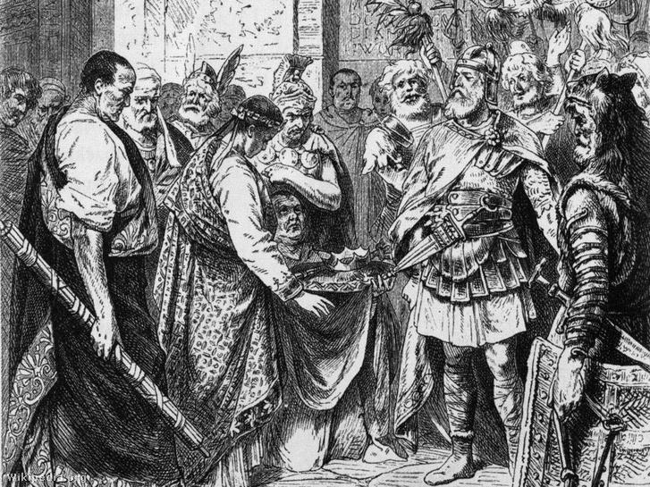 Romulus Augustulus lemondása Odoaker germán vezér javára. 19. századi illusztráció