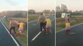 Hajánál fogva rángattak végig egy nőt Pápa közelében a 83-as főúton