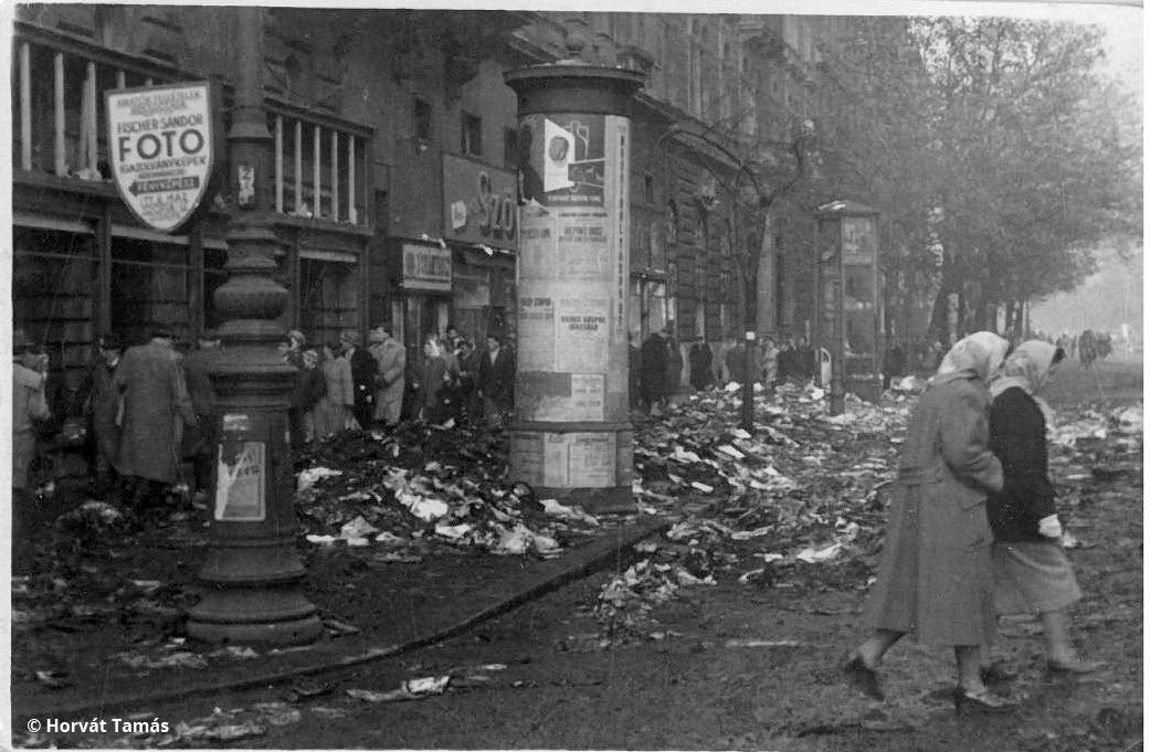 A forradalom napjaiban jelentős gondot okoztak a szeméthegyek, hiszen a harcok kitörése után a Fővárosi Köztisztasági Vállalat munkája is szünetelt. Itt azonban nem csak ezt, hanem könyvégetés maradványait látjuk. Szovjet és leninista könyvekből több helyen raktak máglyát a forradalom első napjaiban, a legismertebb a Szovjet Kultúra Háza előtti tüzezés volt. Ezen a képen a Lenin (ma: Teréz) körúton a Horizont könyvesbolt kirakatát és égetni valónak ítélt köteteteit látjuk.