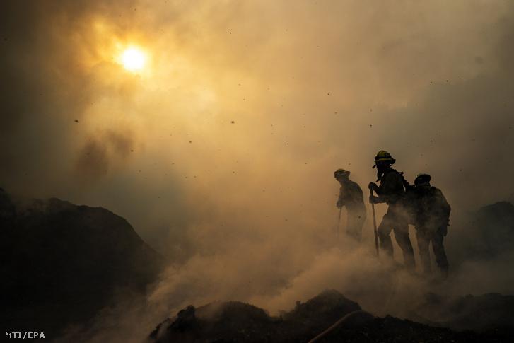 Tűzoltók küzdenek a lángok megfékezésén a kaliforniai Sylmar és Santa Clarita közt fekvő hegységben 2019. október 12-én.