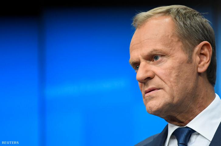 Donald Tusk a brüsszeli EU-csúcson 2019. október 18-án.