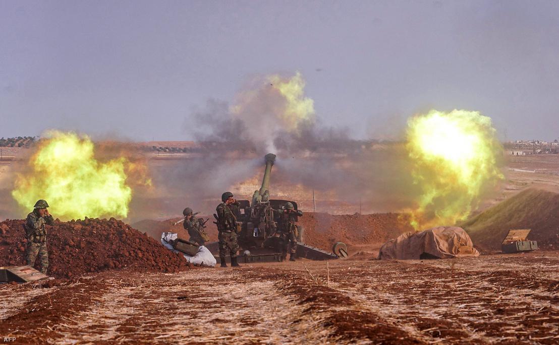 Szíriai tüzérségi állás Syrian Arab News Agency (SANA) közlésében október 22-én