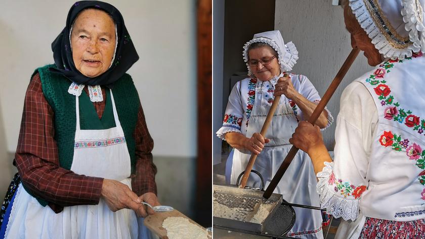 Mari néni lopatkával, Zsuzsi és Terka néni nagy szaggatóval készíti a haluskát.