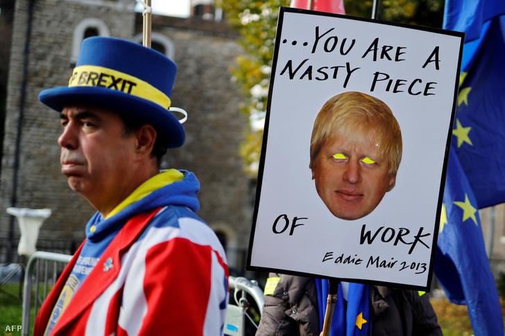 Brexit-ellenes tüntetés az angol parlament előtt 2019 október 22-én