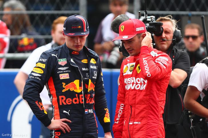 Max Verstappen és Charles Leclerc a mexikóvárosi Hermanos Rodriguez pályán 2019. október 26-án
