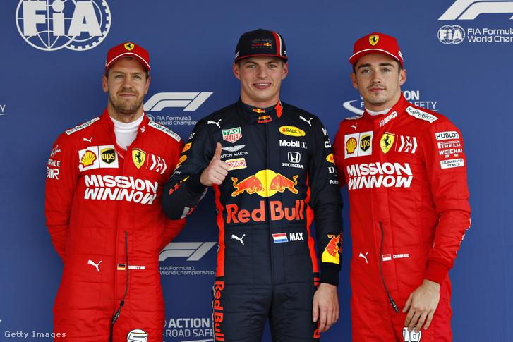 Max Verstappen, Charles Leclerc és Sebastian Vettel az időmérő után Mexikóban 2019. október 26-án