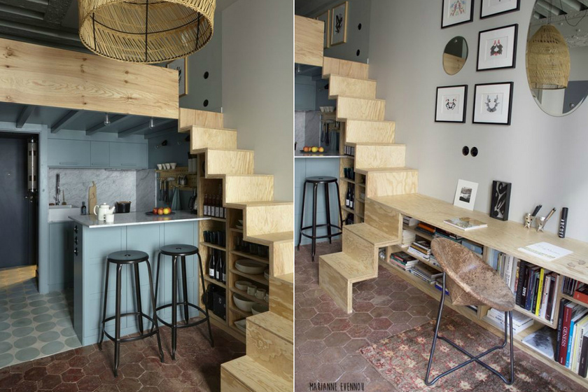 A többfunkciós lépcső egyik legjobb példája látszik a képen. Nem elég, hogy polcként és tárolóként is használják, de egyik oldalát meghosszabbítva asztalként is működik.