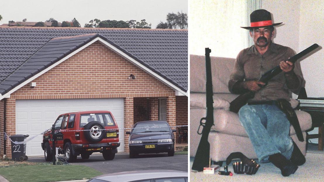Bal oldalon: Ivan Milat háza Sydneyben 1994. május 1-én; Jobb oldalon: Ivan Milatról 1997-ben közreadott kép, amin a fegyvereivel látható.
