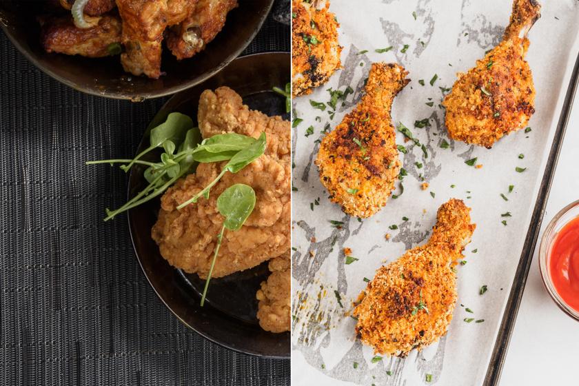 A rántott csirke két dolog miatt egészségtelen - egyrészt rengeteg olajat szív magába, másrészt, a panír tele van szénhidráttal. Sokat lehet segíteni ezen azzal, ha a fehér lisztet teljes kiőrlésű lisztre, a zsemlemorzsát pedig teljes kiőrlésű zsemlemorzsára vagy apró szemű zabpehelyre cseréled. A rántott ételek megsüthetőek a sütőben is.